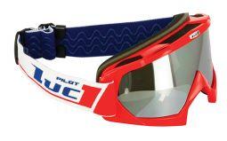 Lunettes Rouge Blanc 2 écrans masque motocross LUCKY Team LUC1 Bleu