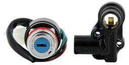 Kit Contacteur à clef Spigaou 50cc et 125cc - Neiman + Serrure de Selle - Broche x4