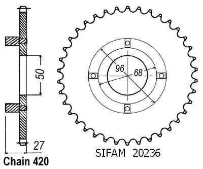 Corona St 70 Dax 1978-1981 Cy 80 - 420 - 38 Denti - Simile a JTR256 - 20236CZ38