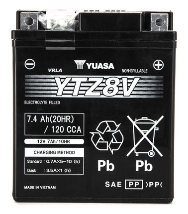 YTZ8-V L 113mm W 70mm H 130mm 12v 7.4ah – AGM sigillata