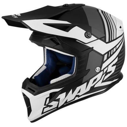 S818 Cross Helmet – Black & White - Matt - CSW5F0102