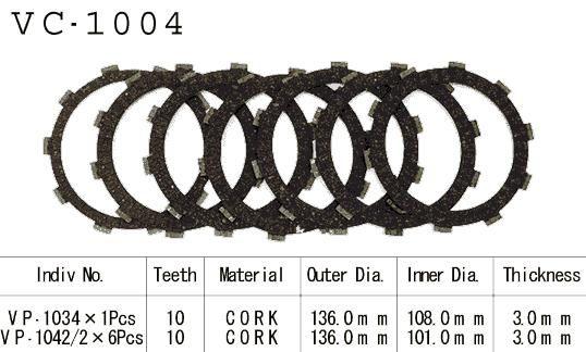 Dischi Guarniti Frizione Cb 500 S/R 94-02 Vt600 C Shadow 89-01